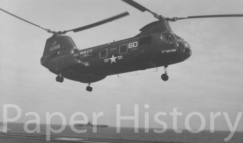 Authentic US Navy 1965 UH-46A Helicopter Landing on Carrier Military 8x10 Photo