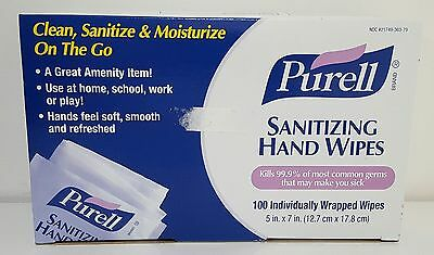 New Purell Sanitizing Hand Wipes Individually Wrapped Box of 100 Wipes  9022