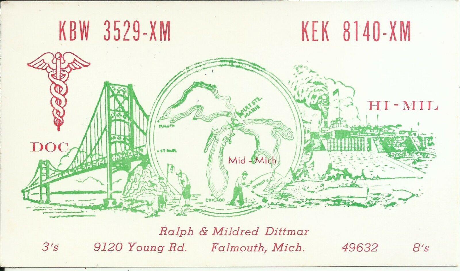 Vintage KBW-3529-XM Falmouth Michigan USA CB Radio QSL Card