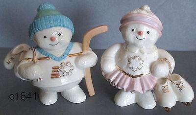 Lenox Christmas Snowy Skaters Snowmen Figurine Set NEW in box COA ()