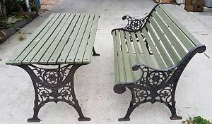 Table & Bench Wrought Iron w/Wood Buff Point Wyong Area Preview