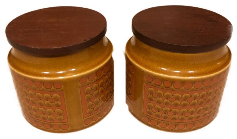 vtg Hornsea 1970sPottery Coffee Sugar Canister Mid Century Teak England stone