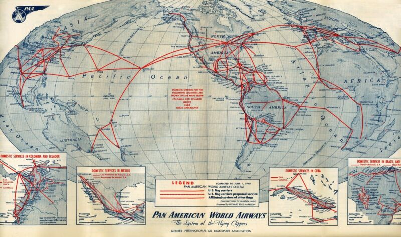 1948 World Map.Pan American World Airways 1948 Route Map 16 X20 Print