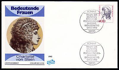 Bund 1582 FDC, 400 Pf. Frauen, Charlotte von Stein