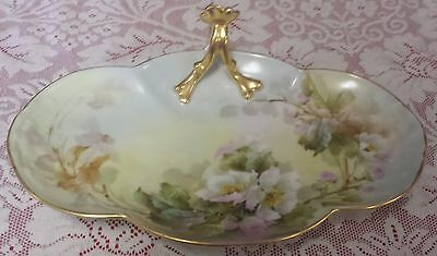 LIMOGES FRANCE HAND PAINTED SERVING DISH - BEAUTIFUL GOLD HANDLE
