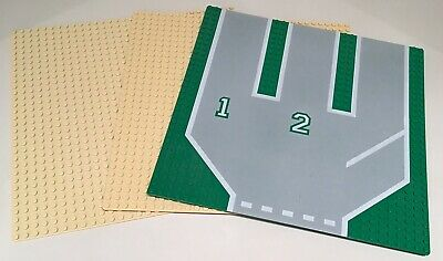 LEGO 32x32 TAN GREEN THIN BASE BOARD PLATE BUILDING ROAD