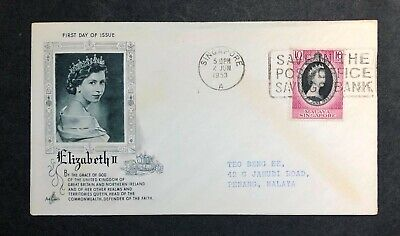 Malaya Singapore 1953 Coronation FDC First Day cover