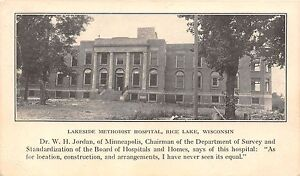 Wisconsin-postcard-Rice-Lake-Lakeside-Methodist-Hospital