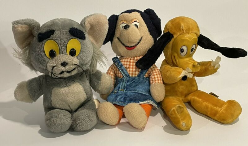 Lot of 3 Vintage Plush Toys Knickerbocker Minnie Mouse Pluto Woolikin Disney Tom