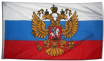 RUSSLAND MIT WAPPEN Hissflagge RUSSISCHE Fahnen Flaggen 90x150cm
