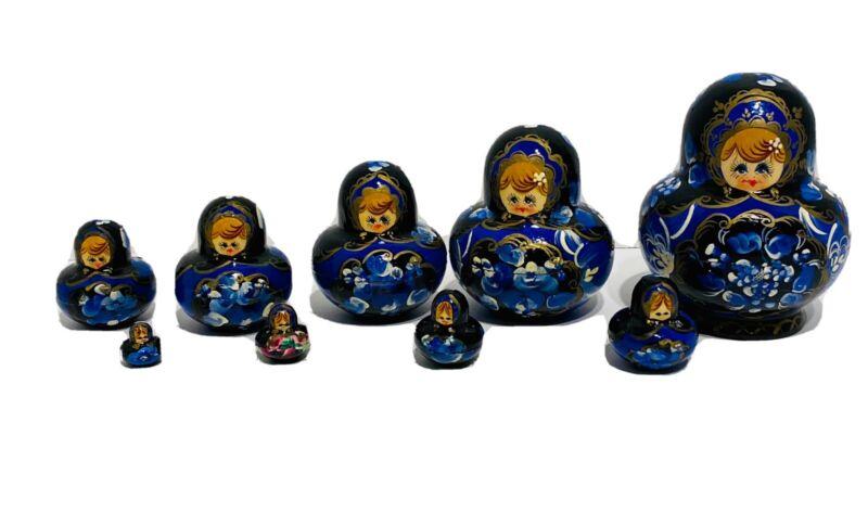 Vintage Hand Painted Russian Matryoshka Nesting Dolls Hand Signed  Set Of 10!