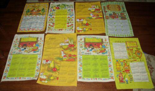 Vintage Cloth Calendar Lot of 8 - Yrs 1979 1980 & 1981