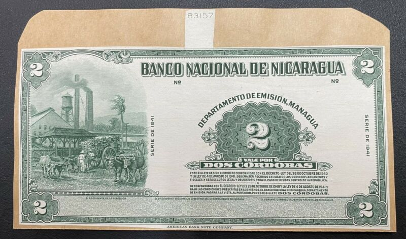 Nicaragua Die Proof Banknote P92a Front