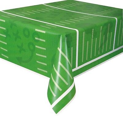 FOOTBALL FIELD PLASTIC TABLE COVER ~ Sports Birthday Party Supplies Decorations