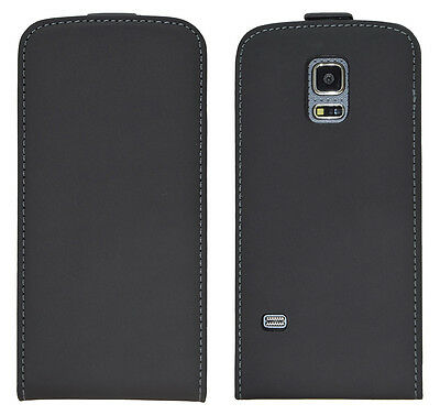 Samsung Galaxy S5 Mini G800 G800F - Housse Etui à Clapet Slim - Noir + Bonus