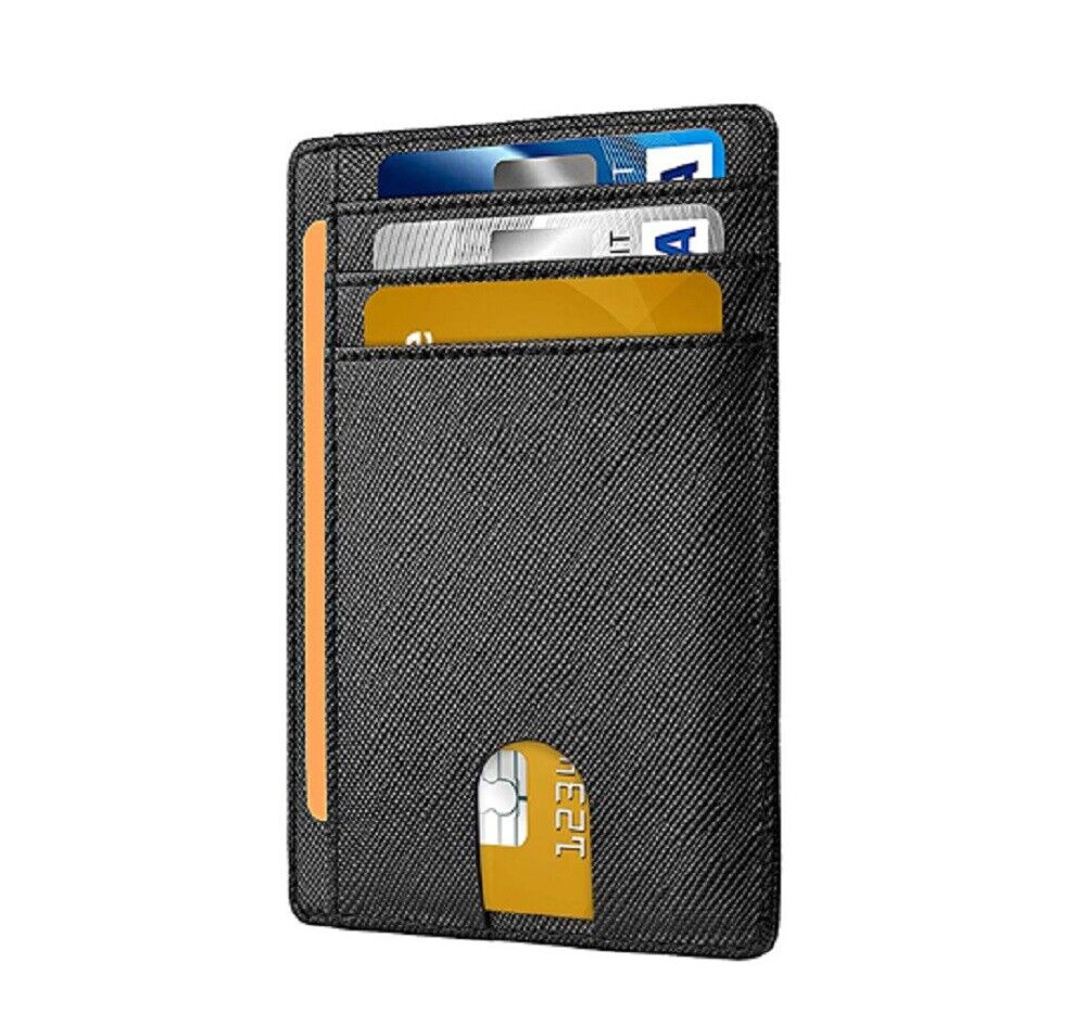 Slim Minimalist Credit Card Holder Front Pocket RFID Blocking Leather Wallets Clothing, Shoes & Accessories