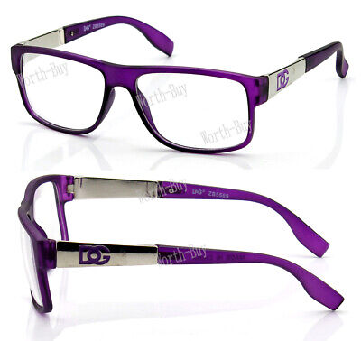 New WB Womens Square Clear Lens Frame Eye Glasses Fashion Designer Purple Nerd  Frame Purple Lens