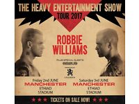 4x Robbie Williams pitch standing tickets, Etihad Stadium Manchester, Saturday 3rd June 2017