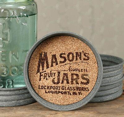 Vintage Rustic Metal Mason Fruit Jar Lid Cork Drink Coaster Set of 4 Logo Design