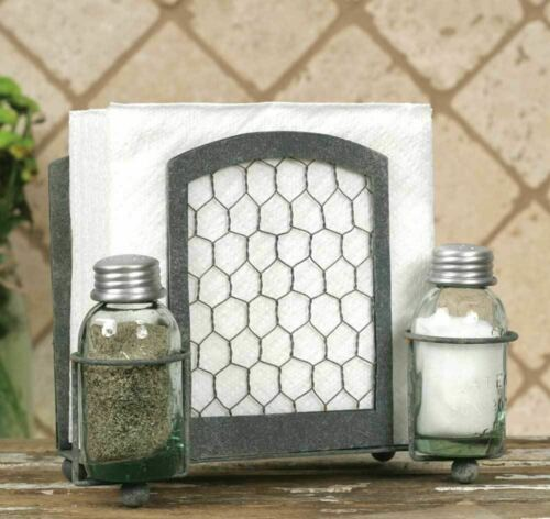 Chicken Wire Salt Pepper and Napkin Caddy