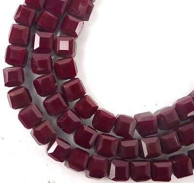 50 Czech Firepolish Glass Faceted Cube Beads 4mm - Maroon / Amaranth