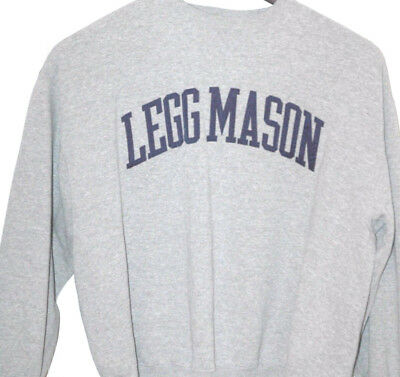 Rare Vtg Legg Mason Sweatshirt Heather Gray Baltimore Maryland Stitched Sewn
