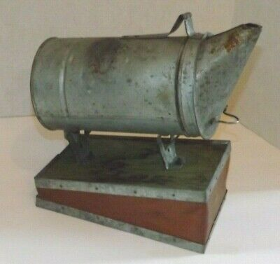 Vintage Bee Hive Smoker Wood Leather Bellows Works Beekeeping Antique
