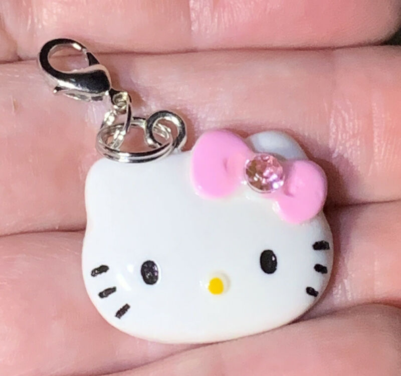Hello Kitty With Pink Bowknot Charm Zipper Pull & Keychain Add On Clip!!