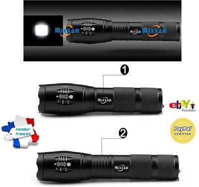 MIXXAR 10000Lm Lampe de Poche 10000 Lumens Led Zoom -Batterie 18650 ou piles AAA
