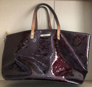 Louis Vuitton Patent Leather Monogram Amarante Vernis Bellevue Gm Vachetta Bag