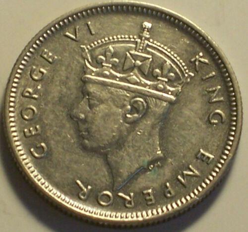 British Seychelles, 1939 George VI Twenty Five Cents, 25 Cents. 36,000 Mintage.