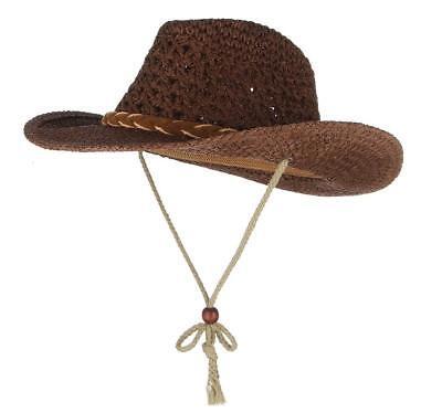 Baby Toddler Kid Children Sun Straw Western Cowboy Hat Wide Brim With Chin Strap](Toddlers Cowboy Hat)