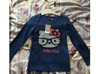 Girls navy blue long sleeve top, Hello Kitty from next, 6 years NEW