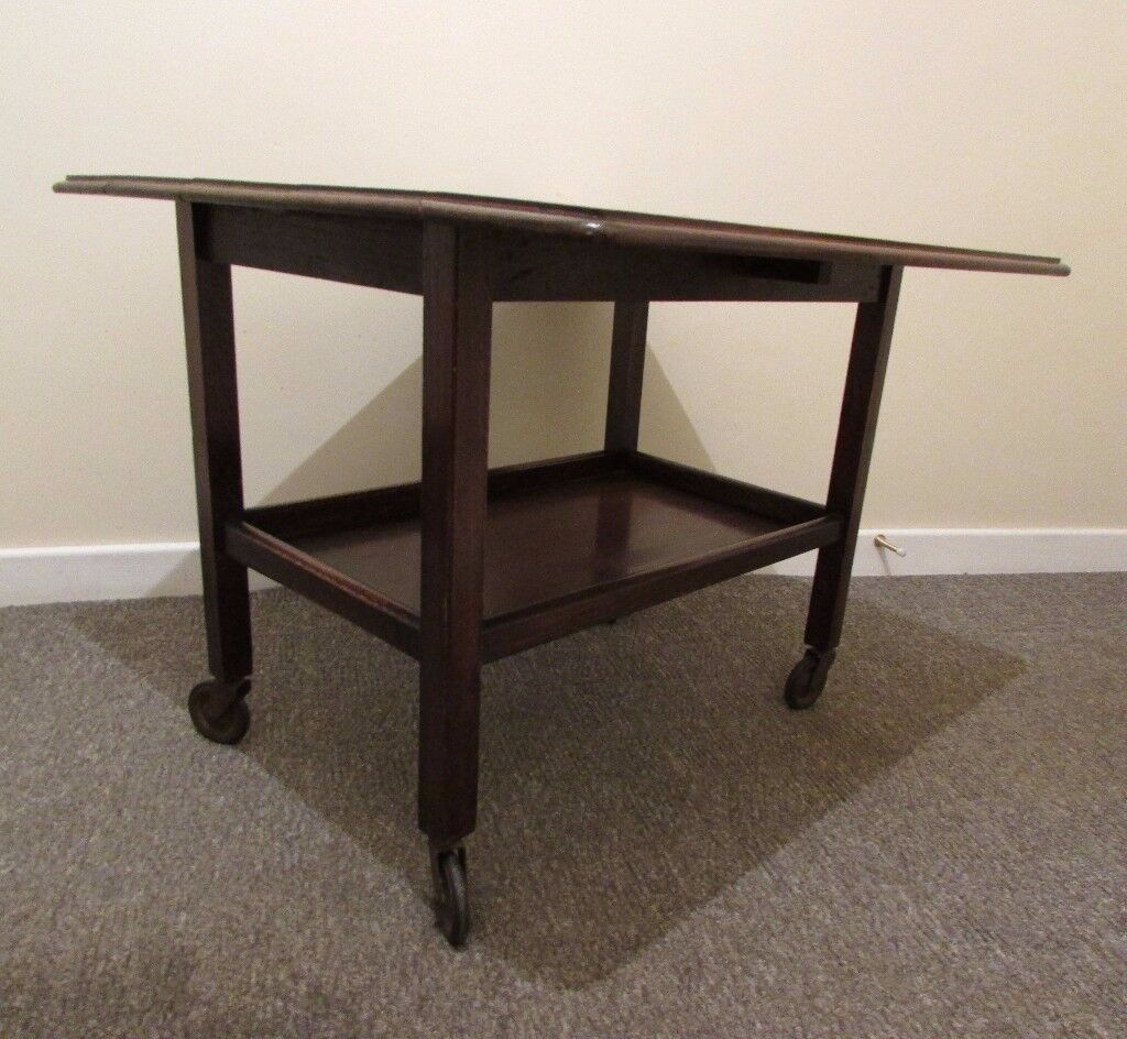 Vintage retro coffee table serving trolley on casters drop leaf table solid wood table FREE DEL