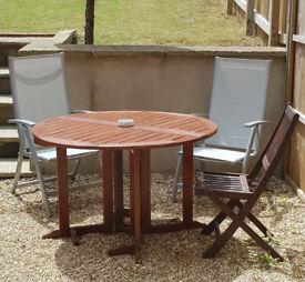 Folding Round Teak Garden Table 120cm Nearly New