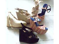 bundle job lot size 4 platform wedge heels sandals shoes size UK 4 Green Grey Black Blue pink