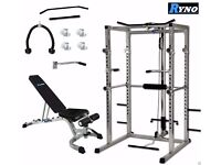 Ryno™ Power Rack Squat Cage Weight Bench Combo Package Machine Pull Up Multi Gym with Bench & Weight