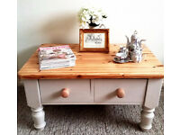 Shabby Chic Solid Pine Coffee Table - Handpainted in Farrow & Ball