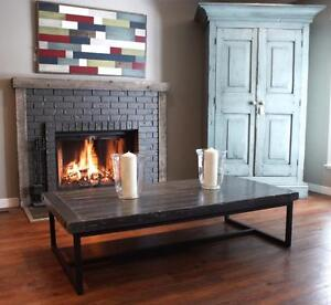 W&I Coffee Table: Industrial metal base with beautiful Alberta solid reclaimed wood top. By LIKEN Woodworks