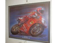 A priceless framed colour original print for a fan/dealer in bike racing+ his Book