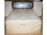 Brand New and Wrapped Luxury Tufted 4ft Small Double Divan Set with Faux Leather Headboard.