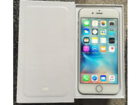 BRAND NEW IN BOX AND UNUSED iPhone 6 16GB Silver & White Unlocked Any Network & 2 BRAND NEW Cases