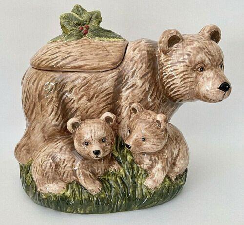 Cracker Barrel Susan Winget 3 Bears Cookie Jar Holly Mom & Baby Cubs w/ Box EC