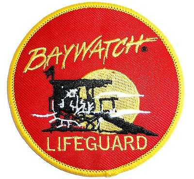 XL BAYWATCH IRON ON CLOTH BADGE beach lifeguard US TV The Hoff round red patch