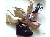 Platform Wedge heel sandals JOB LOT shoes Boho Hippy Black high heel size 4 Most new