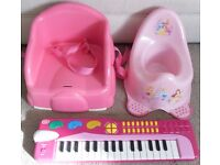 Baby & Toddler - Chad Valley Keyboard, Disney Princess Potty, Pink Booster Seat - £15 the lot