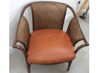2 Rattan Chairs with Leather Cushion - Good Quality, used, nice!