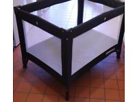 Kiddicare Travel Cot - Excellent Condition - Black - Hardly Used