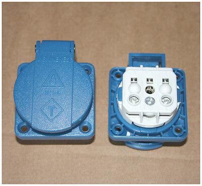 MENNEKES Schuko Anbausteckdose Einbau Steckdose Klappdeckel 16A blau Typ 11031