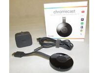 GOOGLE Chromecast 2 HDMI WiFi Media Streaming Device 1080p ,with cable